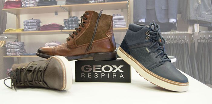 Geox Shoes: Three boot-shoes displayed together on a small platform.